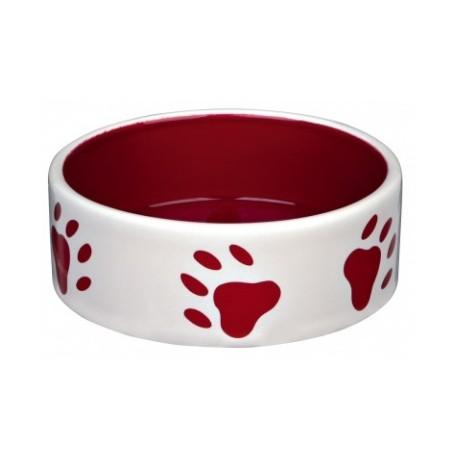 TRIXIE Miska ceramiczna w czerwone łapki