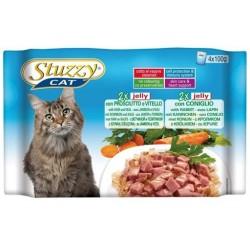 STUZZY CAT Adult Multipack Szynka z cielęciną i królikiem 4x100g saszetki