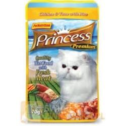 PRINCESS CAT Premium Kurczak z tuńczykiem i ryżem 70g saszetka