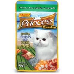 PRINCESS CAT Premium Kurczak z tuńczykiem i warzywami 70g saszetka