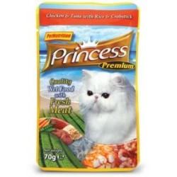 PRINCESS CAT Premium Kurczak z tuńczykiem i krabami 70g saszetka