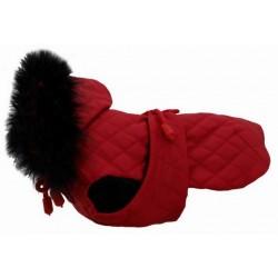 GF Derka pikowana z futrem czerwona